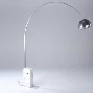 Achillo castiglioni and piergiacomo castiglioni  flos arco floor lamp with curved stainless shaft on white marble base 92 x 78 x 7
