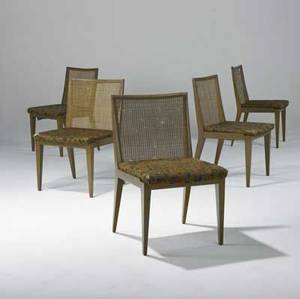 Edward wormley  dunbar group of five dining chairs with caned backs upholstered seats and walnut frames dunbar tags 32 x 19 x 20