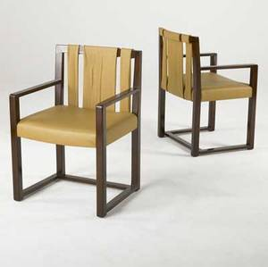 Th robsjohngibbings pair of armchairs with mahogany frames and leather upholstery custom made for the mottahedeh estate 33 12 x 23 x 20