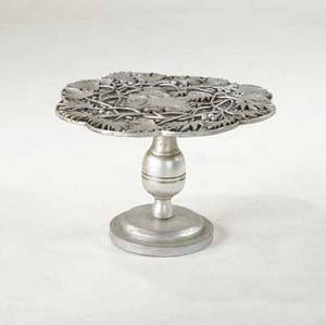 James mont occasional table with carved leaves berries and silver finish signed james mont design 18 14 x 27 dia