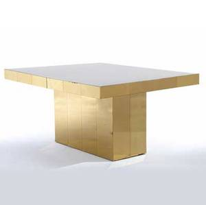 Paul evans cityscape extension dining table with an ivory plexiglass top on brass base complete with one 15 leaf closed 29 x 60 x 44