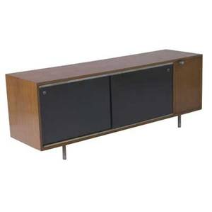 George nelson  herman miller walnut veneer credenza with black lacquered door enclosing interior drawers 25 12 x 67 14 x 18 12