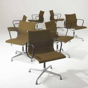 Charles eames  herman miller set of seven aluminum group office chairs stamped herman miller 33 x 22 12 x 18