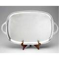 Large chinese export silver tray lee yuhing ca 1900 with gently rounded corners curved handles 1625 ot 28 x 17