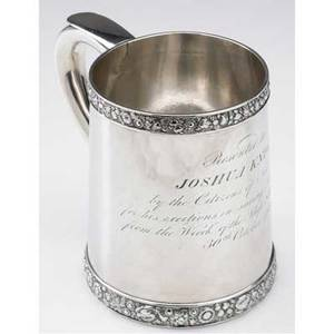 Important coin silver nyc marine presentation mug by john william forbes 1821 slightly tapered cylindrical body applied floral borders sshaped handle with spur 4 12 inscription presented to