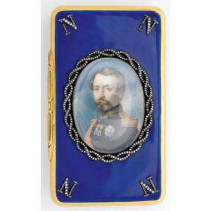 Jeweled and enameled gold napoleon iii presentation snuff box glazed portrait of the future emperor wreathed by diamond ribbons with diamond monograms at corners on a royal blue guilloche ground chas