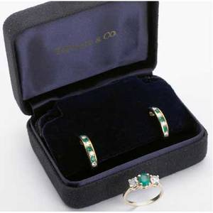 Emerald and diamond earrings and ring tiffany  co 18k yg earrings with lever backs 14k threestone ring set with oval faceted emerald approx 60 ct flanked by circular cut diamonds 66 ct tw