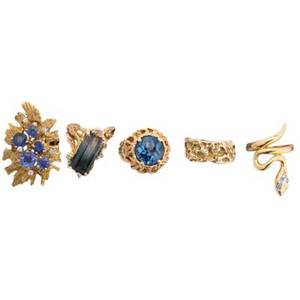 Five mid20th c gold rings sapphire and diamond 18k ring with unrecognized mark hs piaget 18k serpent ring with diamonds three 14k free form rings one with emeraldcut bicolor tourmaline and diam