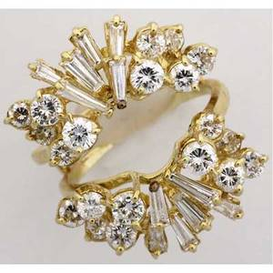 Gold and diamond ring jacket 18k yg with a spray design of circular brilliant cut and baguette cut diamonds approx 240 cts tw 94 gs gw 1 116 across top size 8 can be sized