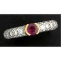 Tiffany  co ruby and diamond ring diamond pave pt band with 18k yg split bezelset circular faceted ruby approx 45 ct diamonds approx 90 ct tw 64 gs gw size 7
