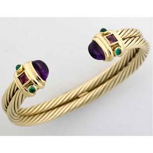 David yurman gemset gold cuff designed as a 14k double cable cuff with amethyst terminals and green and pink tourmaline accents ca 2000 336 gs gw