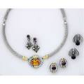 Contemporary designer jewelry 14k and sterl with gemstone accents david yurman silver and gold cable necklace centers oval faceted citrine lagos spadeshaped earrings with iolite cabochons two pai