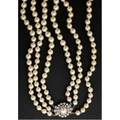 Triple strand akoya pearl necklace with diamond cluster clasp spherical pearls 87mm  545mm with 14k wg clasp diamonds approx 75 ct tw shortest strand 32