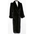 Ranch mink coat full length in mahogany fur with tuxedo collar and cuff sleeve