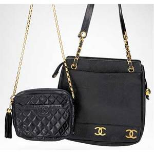 Two chanel leather day bags quilted black leather shoulder bag with gold quilt textured metal chain leather interior exterior pocket authentication card 2084765 made in italy 9 14 x 7 12 te