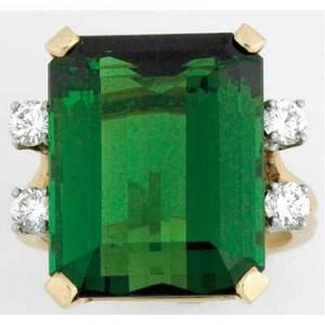 Late art deco green tourmaline ring with diamonds 14k yg emerald cut tourmaline approx 25 cts with four circular brilliant cut diamonds 52 ct tw 107 gs gw size 7 12