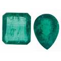 Two unmounted faceted emeralds pear cut 61 cts 147mm x 10mm emerald cut 73 cts 13mm x 115mm 134 cts tw
