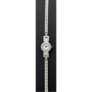 Art deco diamond and platinum bracelet watch glycine 17 jewels unadjusted 4637 circular case with diamond bezel lugs and double line bracelet 2 cts tw 17 gs gw