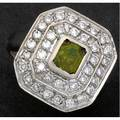 Art deco green zircon and diamond ring 14k wg ca 1930 octagonal stepback design a french cut natural green zircon surmounts two diamond tiers 1 ct tw 94 gs gw size 6 34