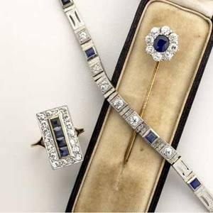 Art deco diamond and sapphire jewelry three pieces include 7 34 link bracelet 18k wg rectangular cluster ring 14k size 6 12 stick pin with 75 ct sapphire oec diamonds approx 30 cts tw