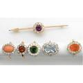 Gemset diamond cluster jewelry ca 19001940 18k fire opal ring with omc diamonds 14k rings aquamarine coral citrine or tourmaline and a 14k amethyst brooch diamonds approx 466 cts tw 26