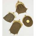 Four 18k gold mesh purses most have french marks one bicolored may include pt with french and english marks 1549 gs gw longest 4 below fringe