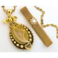 Victorian gold bracelet and necklace woven 14k yg bracelet with beaded edge clasped by a mc diamond and button pearl cluster approx 66 ct tw together with an 18k egyptian revival pendant with a