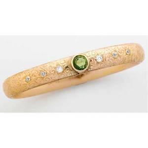 American art nouveau gemset gold bangle engraved dec 25th 1905 peridot 7 mm six oec diamonds approx 72 ct tw 188 gs gw 7 12 int circ