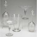 Cut glass five pieces includes a pair of basket cut and scroll compotes trumpet vase and pair of decanters tallest 12 14