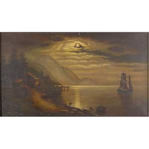 19th c hudson river school untitled moonlit river scene oil on canvas framed provenance private collection new jersey verso attribution to cora g swartout ithica new york 16 x 28