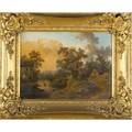 European school landscapes two oils on canvas period gilt frames 19th c provenance private collection new jersey each 16 x 21