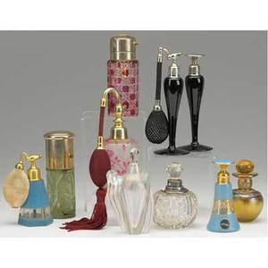 Perfume grouping ten pieces include bottles and atomizers four signed devilbiss possible st louis art glass english silver mounted and others tallest 6 12