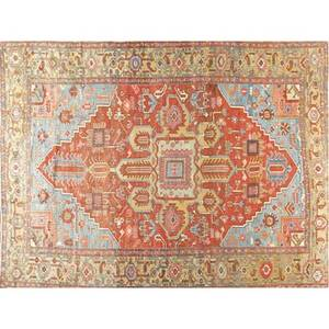 Heriz oriental rug red central medallion with ground in shades of blue and beige 20th c 107 x 142