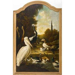 19th c painting untitled birds in a wooded setting oil on canvas framed provenance private collection new york 31 12 x 45