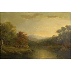 Am brown american a view in north conway nh mt washington in the distance oil on canvas framed provenance private collection new york signed dated and titled on verso 15 14 x 24