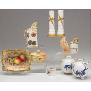 Royal worcester grouping of ten items includes a pair of bulb pots cat figure on a barrel pair of vases small pitcher apple decorated tray figural hand and two covered boxes all late 19thearly