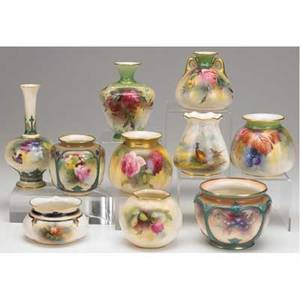 Royal worcester grouping of ten vases includes hadley worcester one bud vase and assorted handpainted floral vases one depicting pair of pheasants signed stinton all late 19thearly 20th c talles