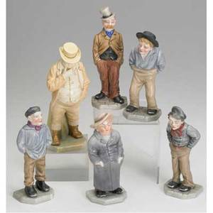 Royal worcester grouping of six male figures all late 19th c tallest 6 58