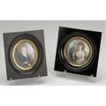 Portrait miniatures two portraits a gentleman on ivory and woman holding a red book on ivory larger 5 38 sq