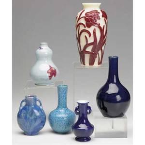 Asian porcelain six vessels cobalt blue chinese bottle vase mottled blue bottle vase light blue doublegourd vase purple vase with elephant handles mottled blue handled vase with chip cream and