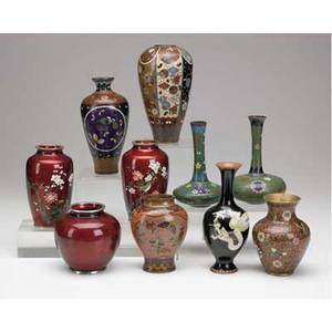 Cloisonne vases ten assorted japanese and chinese vases includes glass cloisonne goldstone assorted black and green etc all late 19thearly 20th c tallest 6
