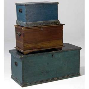 Blanket chests grouping of three two in blue paint and one in pine all 19th c largest 17 12 x 39 12 x 17
