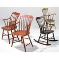 Windsor armchairs grouping of four stepdown 19th c windsors one a rocker largest 36 12 x 22 x 17 12