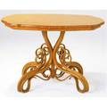 Thonet table with shaped bookmatched veneer top on bentwood pedestal base 29 12 x 40 x 30 12
