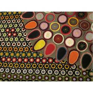 Victorian pennyrugs two mats brightlycolored asymmetrical oval rug with multicolored embroidered circles and teardrop shaped border on a corduroy backing together with large rectangular rug on be