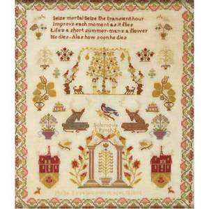 American needlework sampler titled solomons porch by phebe lewellyn 1865 25 x 21 sight