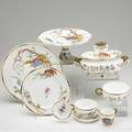 Royal worcester dinnerware approx 139 pieces with handpainted flowers and elephant head handles on serving pieces set includes open and covered tureens platters etc largest 19 x 16
