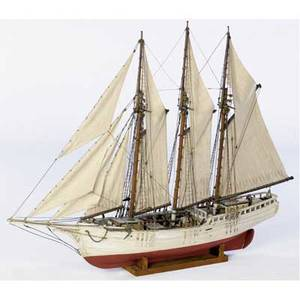 Large threemasted schooner model in full sail with excellent detail 20th c 63 x 57