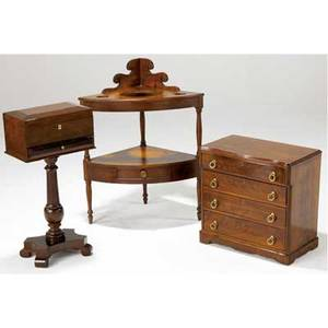 Miniature empire chest mahogany fourdrawers together with a sheraton corner washstand and a mahogany jewelry box on pedestal all 19th c 34 x 26 x 20