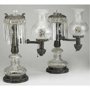 Pair of argand lamps in bronze and clear glass with shades and prisms electrified mid19th c signed john b jones boston ht 19 12